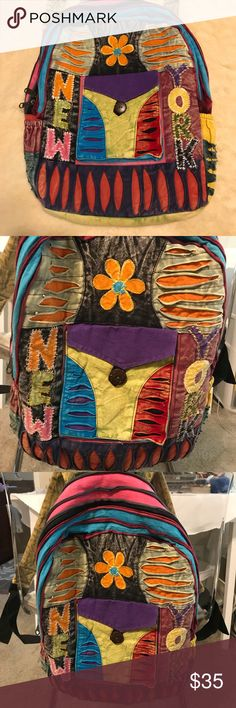 BackPack Hand made in nepal 100% cotton and recycle. Bougth this cuties this summer at Newyork city bazzaar. Great for weekdays errands or weekend school. Bags Backpacks