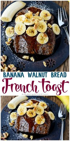 Banana Walnut Bread French  Recipe - Make a couple loaves and then freeze individual slices. That makes this delicious Banana Walnut Bread French Toast for breakfast SUPER easy!! busybeingjennifer...