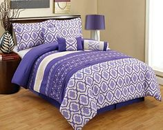 7 Pieces Luxury Purple, White and Grey Quilted Comforter Set / Bed-in-a-bag Full Size Bedding Grand Linen http://www.amazon.com/dp/B00Q817EVS/ref=cm_sw_r_pi_dp_kQdyvb02Y2X0K