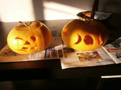 carving the pumpkins