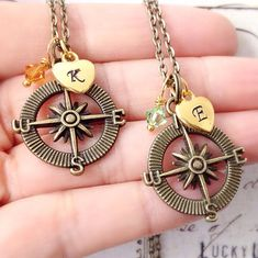 Set of 2 Initial and Birthstone Compass Necklaces by LuckyUCharms