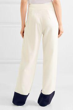 Max Mara - Two-tone Crepe Wide-leg Pants - Ivory - UK12