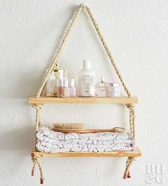 Creëer meer opbergruimte met deze simpele hangende planken. Het is elegant, goedkoop en kinderlijk eenvoudig om te maken.