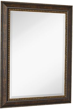 "NEW Large Embellished Transitional Rectangle Wall Mirror | Luxury Designer Accented Frame | Solid Beveled Glass| Made In USA | Vanity, Bedroom, or Bathroom | Hangs Horizontal or Vertical 30"" x 40"". SOPHISTICATED DESIGN: A taste of old world and opulence with our 30"" x 40"" antique like mirror framed wall mirror. Our premium, large, rectangular, mirror is surrounded by an dark rich color pallet of classical framing. The hand cut and assembled frame surrounds a clear beveled glass mirror..."