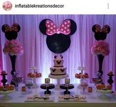 Minnie Mouse Birthday Party Dessert Table and Decor Minnie Mouse First Birthday, Red Minnie Mouse, Twin First Birthday, Mickey Y Minnie, Birthday Cake Girls, Baby Birthday, Birthday Ideas, Birthday Party Desserts, Christmas Birthday Party