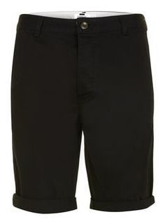 Black Long Length Chino Shorts