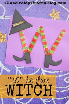 """""""W"""" is for Witch - Kid Craft Idea Preschool Letter Crafts, Abc Crafts, Alphabet Letter Crafts, Daycare Crafts, Alphabet Activities, Craft Stick Crafts, Toddler Crafts, Preschool Activities, Craft Sticks"""