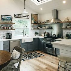 reclaimedwoodcrafts: We can't thank @the_driftwood_farmhouse enough for posting the incredible photos of their kitchen! The floating reclaimed wood shelves look amazing! #reclaimedwood #custommade #re