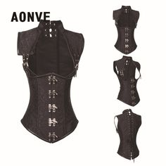 27.39$  Buy here - Black Steampunk Corset Clothing Women Brocade Gothic Full Steel Boned Corsets and Bustiers Underbust Bustier Sexy Lingerie Vest   #magazine