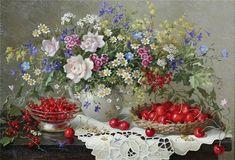 Lydia Datsenko 'nun tablolarında taze kır çiçekleri, danteller, beyaz işler ve daha çok kadınların ince zevkine hitabeden detaylar var.Gözle...