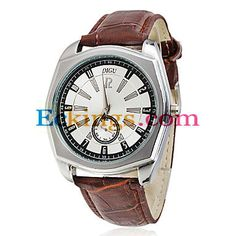 Men's PU Band Silver Case Analog Quartz Wrist Watch (Assorted Colors) : Online Shopping for Watches, Toys & more
