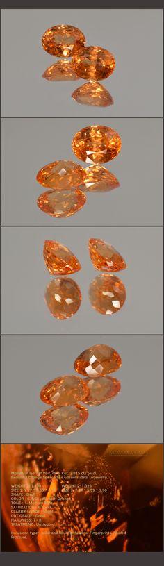 Mandarin Garnet Pair. Oval Cut. 2.815 cts total. Beautiful Orange Spessartite Garnets ideal to jewelry. Loose Gemstones for sale MdMaya Gems