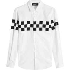 Dsquared2 Printed Cotton Shirt ($293) ❤ liked on Polyvore featuring men's fashion, men's clothing, men's shirts, white, mens patterned shirts, mens white cotton shirts, mens cotton shirts, mens shiny shirt and mens print shirts