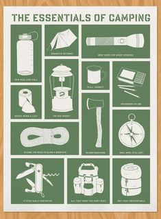 , Image of The Essentials of Camping Siebdruck - Campingausr. , Image of The Essentials of Camping Siebdruck - Campingausrüstung - Bushcraft Camping, Camping Bedarf, Camping Survival, Family Camping, Survival Tips, Survival Skills, Outdoor Camping, Camping Guide, Camping Stuff
