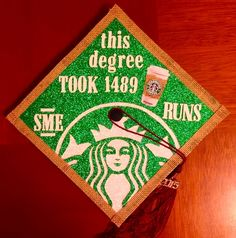 Graduation Cap Decoration   Starbucks Funny Grad Glitter Design