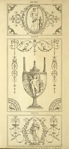 [Central design of urn; cherub holding two birds, next to a lion.] (1777-1784)