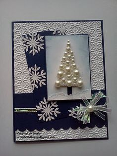 Pearl Christmas Tree Card with Embossing Folder Design BackgroundI'm running late with this challenge but finally finished the card at I had this idea of a pearls Christmas tree and this was my .The Paper Players: Challenge WinnersPearl christmas tre Homemade Christmas Cards, Christmas Cards To Make, Christmas Greeting Cards, Christmas Greetings, Greeting Cards Handmade, Homemade Cards, Handmade Christmas, Holiday Cards, Christmas Crafts