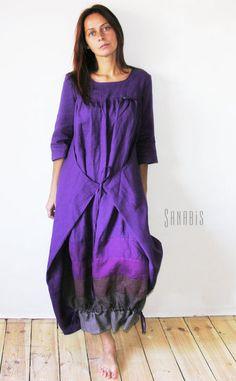 Льняное платье-трансформер - белый,слоновая кость,фиолетовый цветок,льняное платье