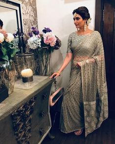 Hot Selling Net Saree Sequence work Zari work on Pallu Attractive sari for Party Indian Dresses, Indian Outfits, Pakistani Dresses, Moda Indiana, Grey Saree, Stylish Sarees, Embroidery Saree, Saree Look, Party Wear Sarees