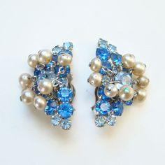Vintage Sapphire Blue Rhinestone Clip Earrings with Faux Pearl Dangles Set in Silvertone by redroselady on Etsy