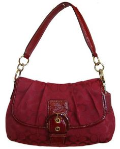 Authentic Coach Soho Signature Buckle Flap Hobo Handbag 17093 Crimson Red Coach  Bags Sale ef8bd2f61d8a8