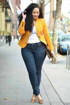 Love this blazer color with Blue jeans