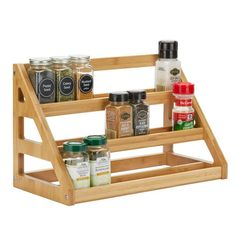 Organize your kitchen spice rack or spice cabinet into a space efficient and uniform looking way with our sets of French style glass spice jars with stylish spice labels SpiceLuxe! Pantry Shelf Organizer, Kitchen Organization Pantry, Spice Organization, Organize Kitchen Spices, Kitchen Spice Racks, Glass Spice Jars, Glass Jars, Bamboo Cabinets, Shelf Arrangement