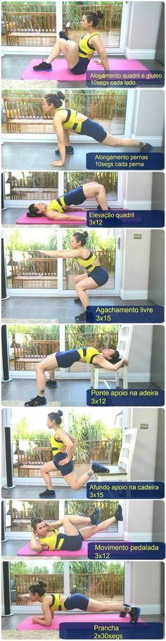 Exercício para fortalecer coxa e bumbum em casa. Repetições de cada exercicio descrito nas fotos! Enjoy!