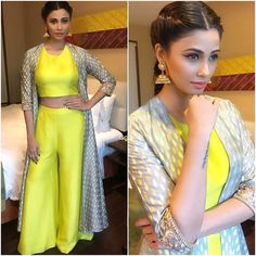 Since festive and wedding season is already here you often wonder as to what to wear. Here are these gorgeous Crop Top And Bottom Make An Idle Fusion Wear. Indian Attire, Indian Outfits, Indian Wear, India Fashion, Asian Fashion, Style Fashion, Fashion Beauty, Indian Fashion Trends, Latest Fashion