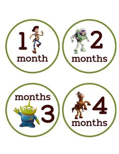 Monthly Baby Onesie Stickers Boy Toy Story Buzz Light Year Woody Penguin WATERPROOF Baby Shower Gift. $9.00, via Etsy.