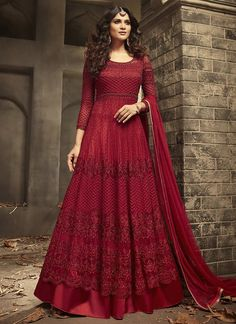 Buy Red Embroidered Abaya Style Anarkali Suit online, SKU Code: This Red color Party anarkali suit for Women comes with Sequins Net. Shop Now! Designer Anarkali, Designer Gowns, Designer Bridal Lehenga, Indian Gowns Dresses, Pakistani Dresses, Flapper Dresses, Bridal Gown Styles, Bridal Dresses, Couture Dresses