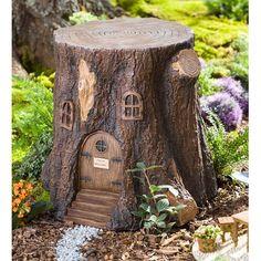 Plow & Hearth Whimsical Fairy Garden Tree Stump Stool & Reviews | Wayfair
