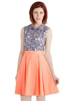 Love the periwinkle and peach combo, not to mention the high waisted skirt!