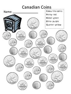 Introduce and practice recognizing basic Canadian coins: penny, nickle, dime and quarter. All the coins are in greyscale to facilitate colouring by coin. Students must recognize each coin and distinguish between them to colour by coin. Money Activities, Math Resources, Work Activities, Money Worksheets, Kindergarten Worksheets, Teaching Money, Teaching Math, 1st Grade Math, Grade 2