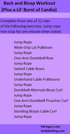 Cardio + back/bicep circuit workout.  Or sub a sprint on the treadmill for 1 minute instead of jump rope... or alternate.