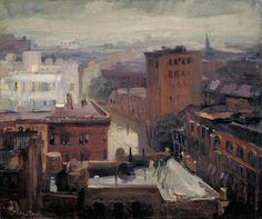John Sloan (American, 1871-1951)    1913 Rain, Rooftops, West 4th Street oil on canvas 51 x 61 cm