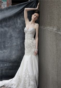 Strapless beaded and embroidered wedding gown with sweetheart neckline // KSY4 from Stephen Yearick
