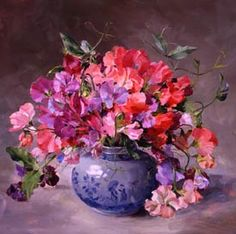 ''Bouquet of Sweet Peas'' by Anne Cotterill