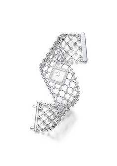 High jewellery cuff watch in white gold set with 176 brilliant-cut diamonds.   Silvered dial.   Piaget 56P quartz movement.