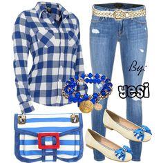 Outfit para una salida casual, jeans con camisa de cuadros y zapatos de piso, todos en tonos azul. 93