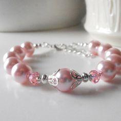 Pink Bridesmaid Jewelry Sets Pearl Bracelets by FiveLittleGems, $18.00