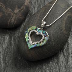 Natural Paua shell open heart