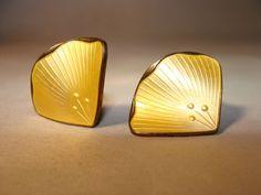 VTG, Ivar T Holt Norwegian Sterling Silver Gold Enamel Leaf Clip on Earrings