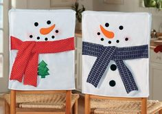 Snowman chair back covers Christmas Sewing, Christmas Art, Christmas Projects, Christmas Holidays, Christmas Ornaments, Snowman Crafts, Holiday Crafts, Holiday Fun, Christmas Chair Covers