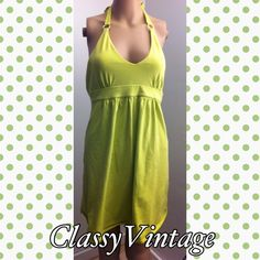 Limeade Victoria's Secret bra top  dress Adorable baby-doll halter style dress. Victoria's Secret bra top . Gently used - no rips tears or stains . Ties at neck. Tag size small Victoria's Secret Dresses