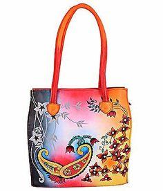ZINT-Hand-Painted-Genuine-Leather-Handbag-Shoulder-Bag-Purse-Paisley-Colorful