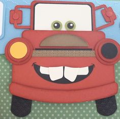 And this is the inside of the previous card with the plane. It's Mater!  So cute!