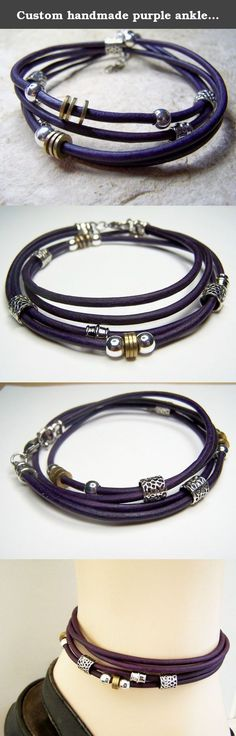 Custom handmade purple anklet for her, Leather anklet with silver/gold-tone beads,Petite to plus size ankle bracelet, Birthday gift/mother's day gift. Custom made anklet to fit petite to plus size. Double wrap purple leather with spacer beads in goldtone and silvertone. Great gift idea. Make sure to measure your ankle. Please, do not use another anklet or guess at size, not all anklets are made the same way. Made in Greece.