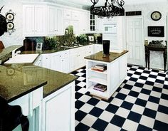 """12' Wide Black & White Checkered Flooring Continuous Vinyl not the individual sticky squares.  Checkerboard checked floor.  Great for kitchens, garages, laundry rooms, diners, tattoo shops, ice cream parlors or car and motorcycle trailer flooring.  Commercial grade meaning it's not to """"squishy"""" therefore showing indentations.  Check it out at www.checkeredfloor.com or call 805-479-8454 PST.  Ships from the East Coast.  CraftEnterprises@aol.com  Affordable!"""