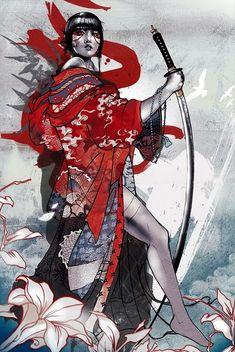 Samuraia Tomoe im Blütenkomono mit Dai-Katana on GeishaGirls 141x210mm Fantasy Samurai, Samurai Art, Japanese Culture, Japanese Girl, Geisha Art, Tomoe, Image Collection, Asian Art, Cool Art